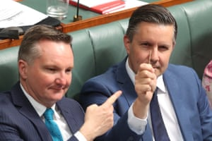 "Mark Butler holds up a toothpick in response to Energy Minister Angus Taylor saying he would take ""a big stick"" to the energy companies during question time"