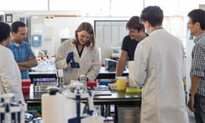 Josh Tetrick (in black T-shirt) in the Hampton Creek lab with members of his 'clean meat' team.