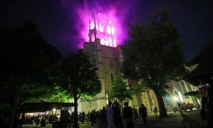 Lausanne Cathedral is lit in purple, the official colour of the movement.