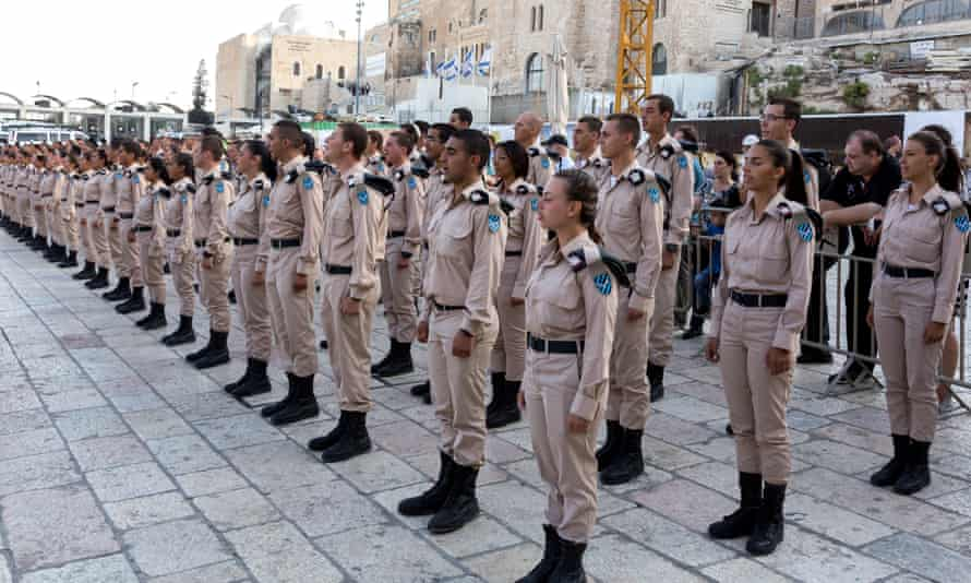 Israel Defence Force cadets are sworn in in front of the Wailing Wall.
