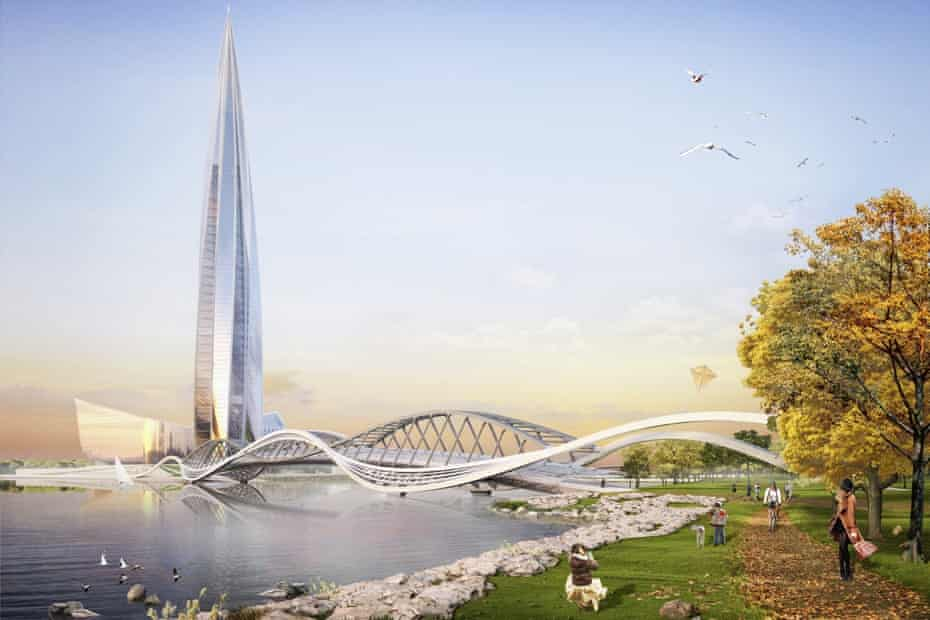 An artist's impression of the new Lakhta Centre in St Petersburg.