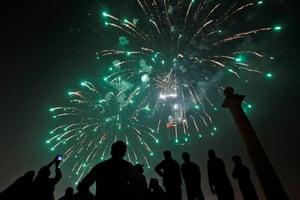 Gathjering to watch fireworks in Karachi, Pakistan