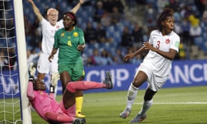Canada's Kadeisha Buchanan turns away in delight after giving her side the lead