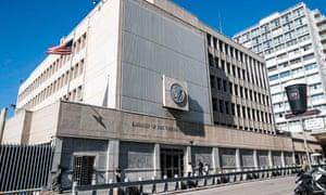 The US embassy building in the Israeli coastal city of Tel Aviv.
