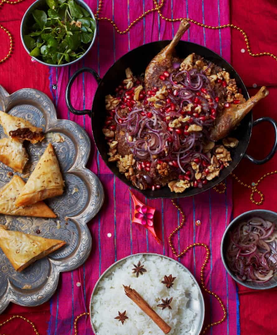 Roast duck fesenjan and wild boar samosas.