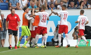 Leipzig players celebrate a goal.