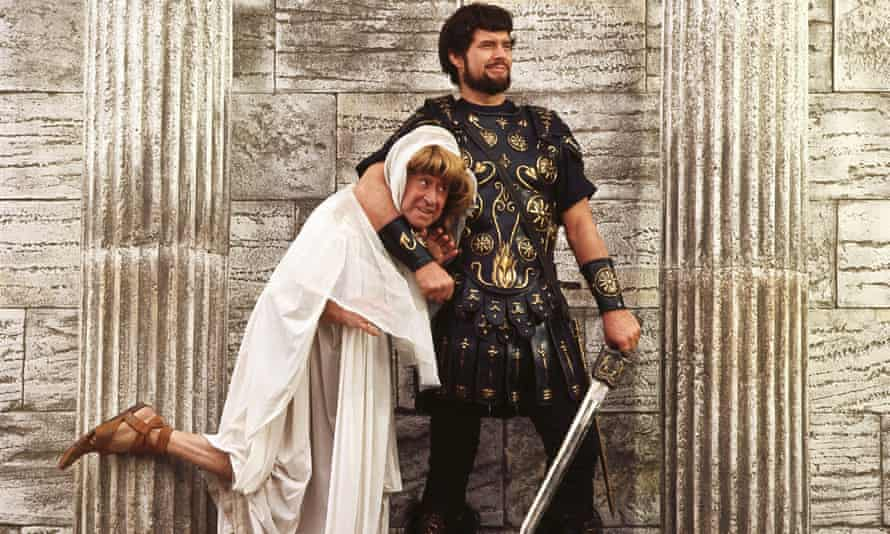Leon Greene as the Roman soldier Miles Gloriosus, with Jack Gilford in disguise as Philea, in Richard Lester's 1966 film of A Funny Thing Happened on the Way to the Forum.