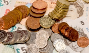 British currency in coins and notes