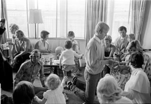 England players Derek Underwood, Keith Fletcher, Tony Greig and Dennis Amiss with their families on Christmas Eve ahead of the third Test during the 1974-75 Ashes tour
