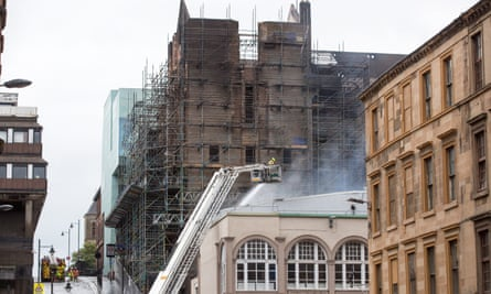 Firefighters at the Glasgow School of Art on 16 June 2018.