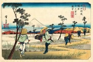 Kōnosu Station, 1835 (Eisen, plate 8)