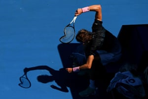 Melbourne, Australia: Alexander Zverev of Germany smashes his racquet at the Australian Open