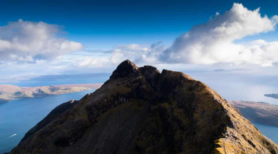 Beauty and peril … Gars-bheinn towers over Soay Sound on the southern reaches of the ridge.