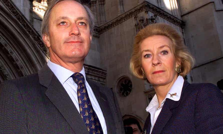 The former Tory MP Neil Hamilton and his wife, Christine, at the high court in London in 1999