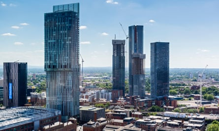 'Truly shameful' … from left, the Axis Tower, the Beetham Tower and the Deansgate Square apartment blocks.