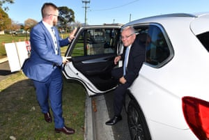 Prime minister Scott Morrison arrives at Ulverstone, Tasmania, where the government is battling to take the seat of Braddon.