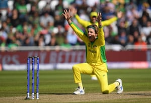 Adam Zampa of Australia appeals for the wicket of Liton Das of Bangladesh.