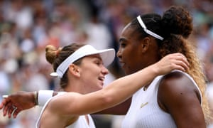 Simona Halep embraces Serena Williams after beating her 6-2, 6-2, to win the women's singles title at Wimbledon