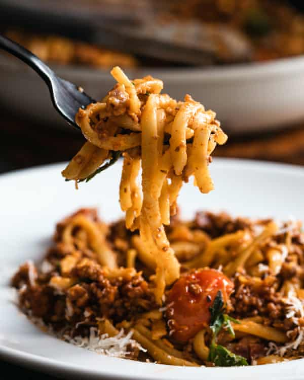 Bolognese ragu sauce with a ribbon pasta.