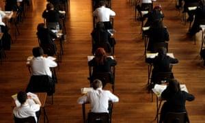 Pupils sitting a maths exam