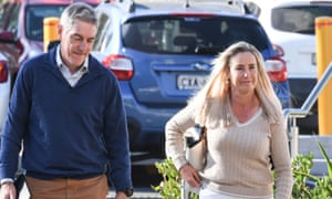 The parents of Olivia Inglis, Arthur and Charlotte Inglis, arrive at the Lidcombe coroner's court in Sydney
