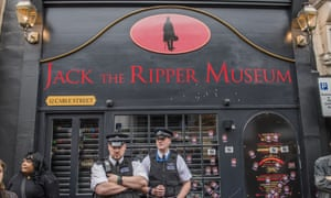 Police on guard outside the Jack the Ripper museum in east London after angry protests this week.