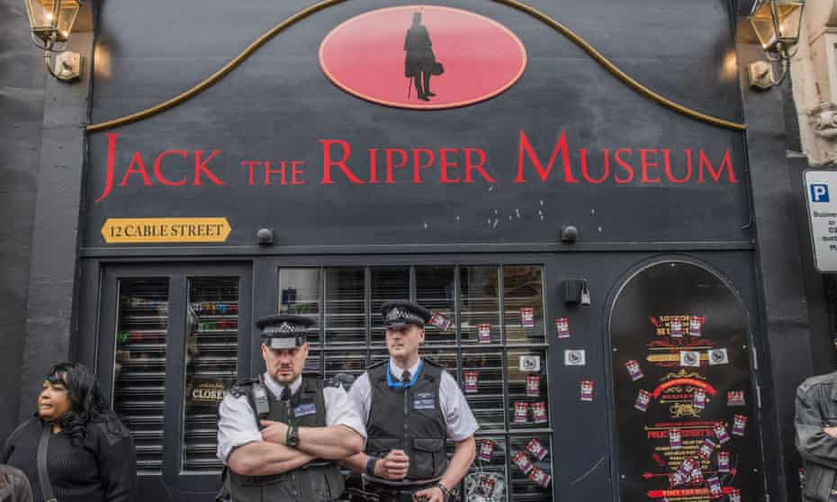 A protest outside the Jack the Ripper museum in east London