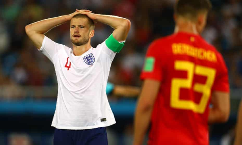 Eric Dier of England looks dejected during the defeat to Belgium.