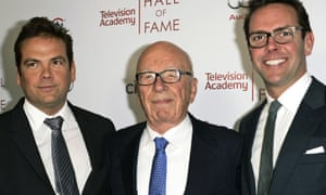 Rupert Murdoch, centre, with his sons, Lachlan, left, and James