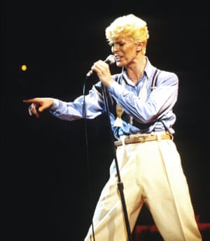 David Bowie performing in concert in 1987.