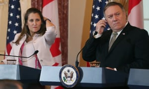 "Secretary of State Mike Pompeo and Canadian Minister of Foreign Affairs Chrystia Freeland say the arrest of two Canadian citizens in China is ""unacceptable."""