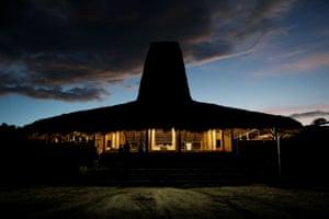 Sombrero-shaped hut at dusk