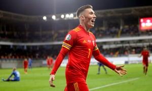 Harry Wilson celebrates scoring Wales' second goal in Baku.