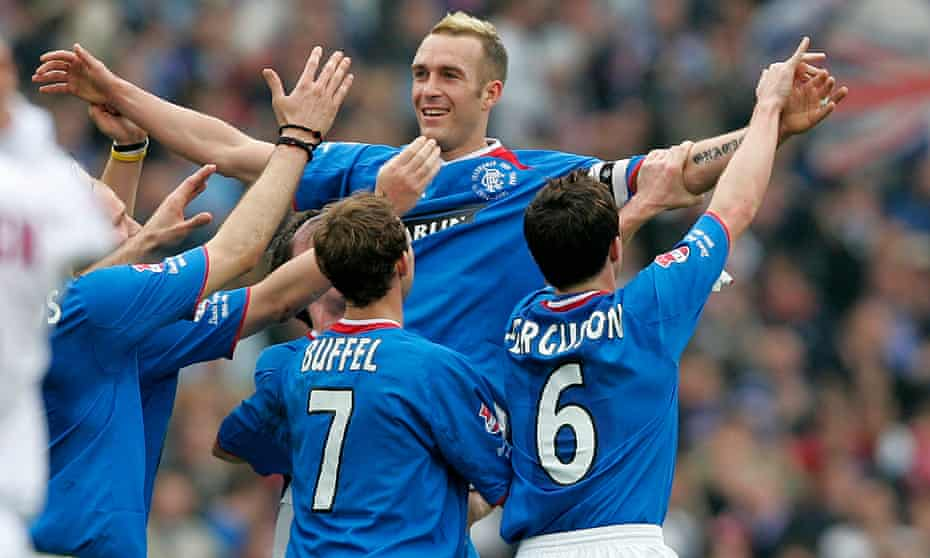 Fernando Ricksen celebrates after scoring for Rangers in the 2005 Scottish League Cup final win over Motherwell.