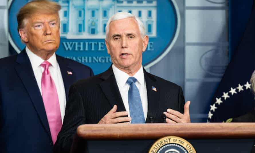 Donald Trump and Mike Pence at a White House press conference on the coronavirus outbreak
