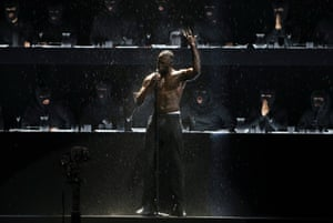 Stormzy performs at the Brit Awards at the O2 Arena in London, 21 Feb