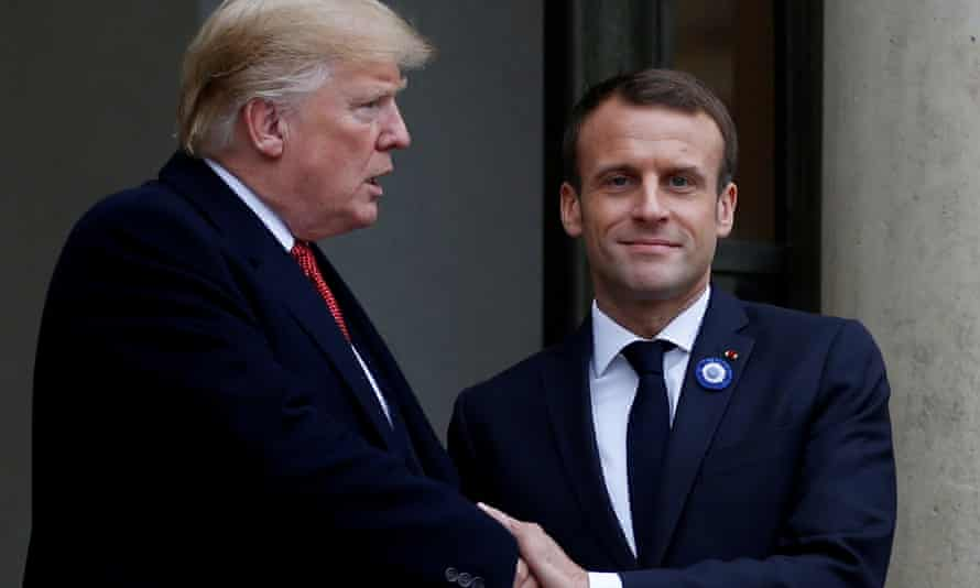 Donald Trump after a meeting at the Elysee Palace in Paris with French president Emmanuel Macron on 10 November.