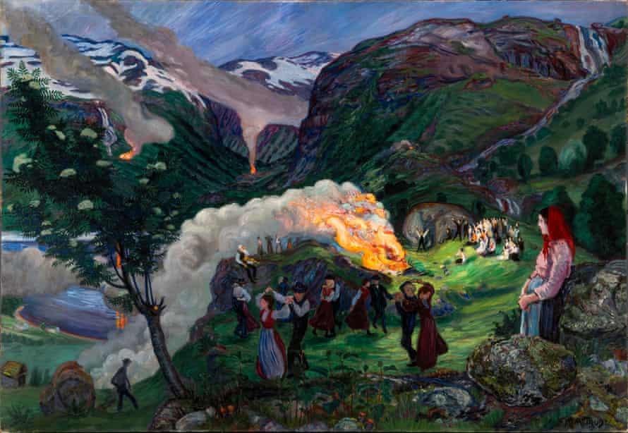 Midsummer Eve Bonfire, before 1915, by Nikolai Astrup.