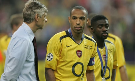 Wenger faces up to defeat in the 2006 Champions League final in Paris, with Thierry Henry and Kolo Touré. 'If we'd played with 11 against 11, we would definitely have won the European Cup.'