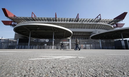 The San Siro stadium in Milan. Grounds have been closed since early March with Serie A paused due to the coronavirus pandemic.