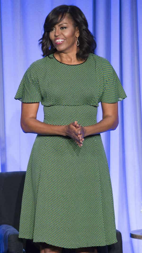 Green light: Michelle Obama wearing Michael Kors.