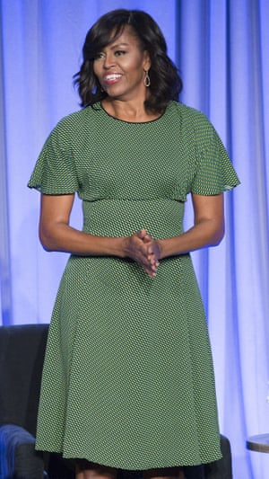 Green light: Michelle Obama wearing Michael Kors.