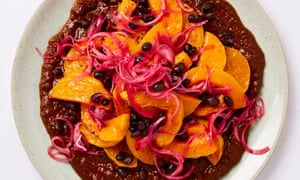 Meera Sodha's butternut squash and black bean mole with lime-pickled onions.