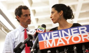 Good exposure … Anthony Weiner and now estranged wife Huma Abedin in 2013.