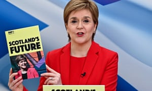 Nicola Sturgeon Launches The SNP Election Manifesto<br>GLASGOW, SCOTLAND - APRIL 15: Scotland's First Minister and leader of the Scottish National Party, Nicola Sturgeon, launches the SNP Election Manifesto during campaigning for the Scottish Parliamentary election on April 15, 2021 in Glasgow, Scotland. Speaking as she launched the party's manifesto, Ms Sturgeon said frontline NHS spending would increase by at least 20% over the next five years - which she said would total £2.5bn. (Photo by Jeff J Mitchell/Getty Images)