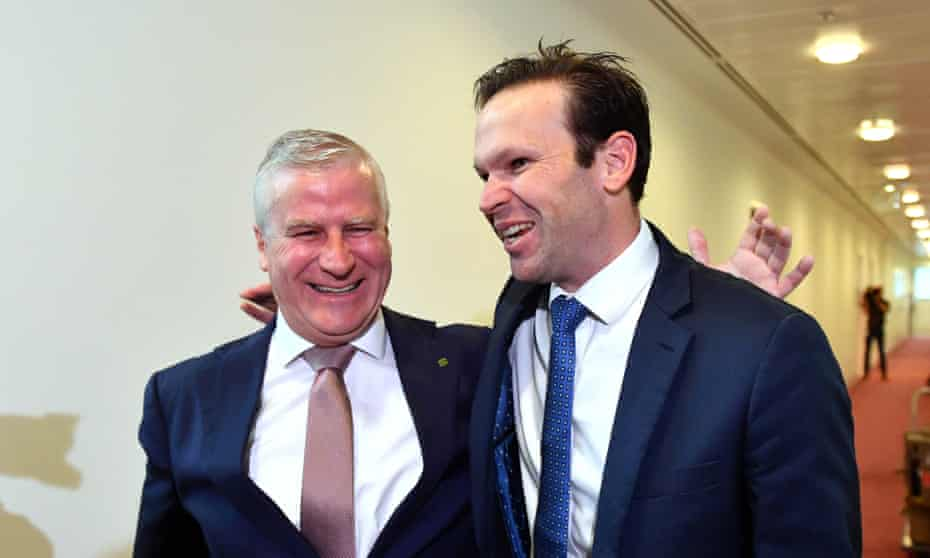 Deputy Prime Minister Michael McCormack and Nationals Senator Matt Canavan in February