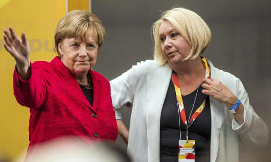 Karin Strenz (right) with the German chancellor, Angela Merkel, in 2017. Strenz was travelling home from Cuba.