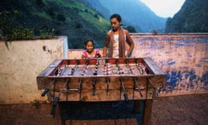 Girls play table football in Cape Verde, off the coast of West Africa
