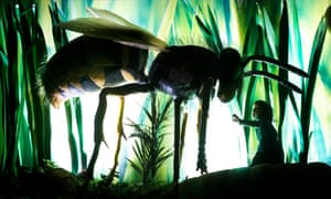 A young child confronts a giant wasp at the Royal Museum of Scotland, Edinburgh.