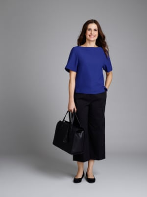 Livia Firth wearing a Gia top, Athena culottes and black tote bag from her collection for M&S.